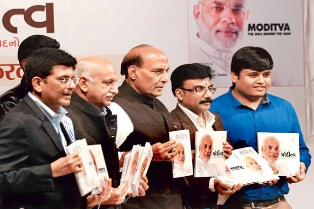 Akbar (second from left) with BJP president Rajnath Singh (centre). Photo: Virendra Singh Gosain/Hindustan Times